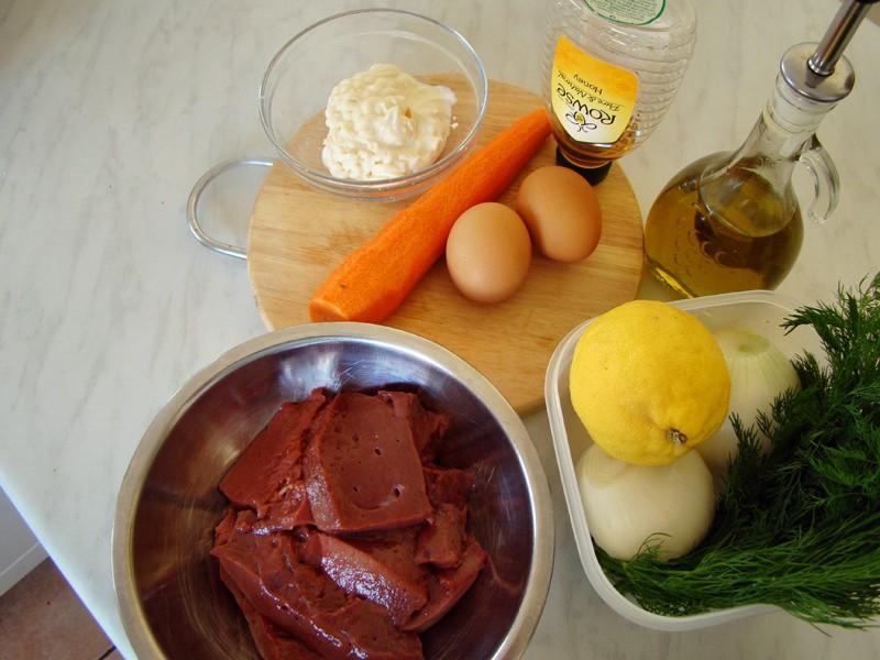 Ингредиенты для приготовления пирога из печени