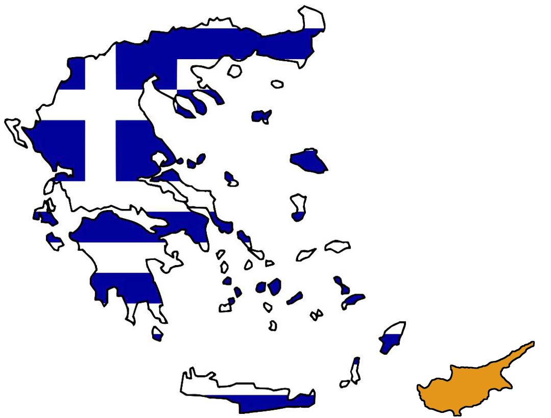 the Greek and Cypriot map