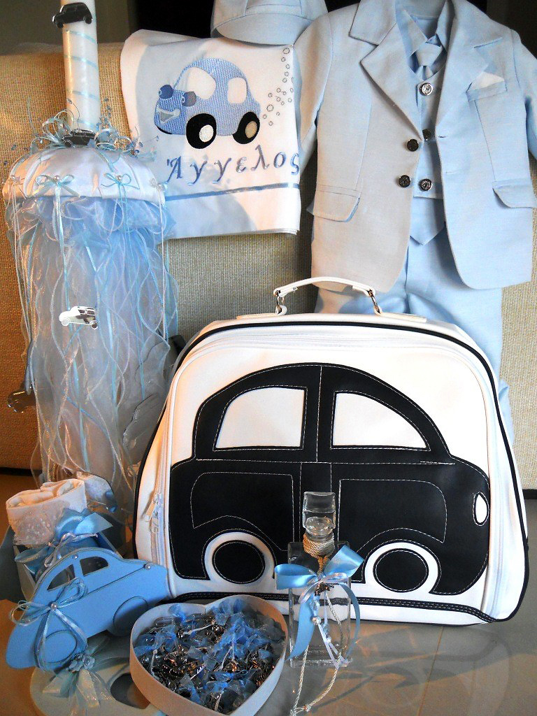 a christening set for a boy
