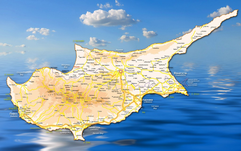 the map of Cyprus