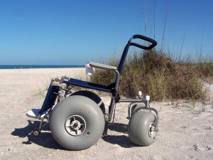a special wheelchair for the beach