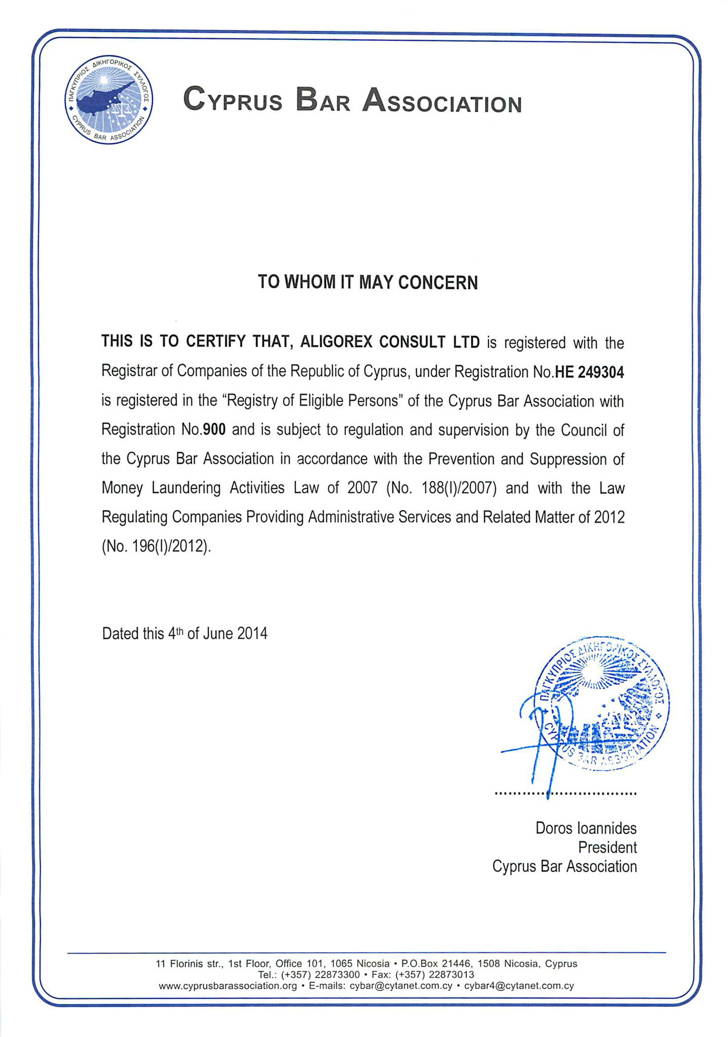 License Aligorex Consult signed by president of Cyprus Bar Association
