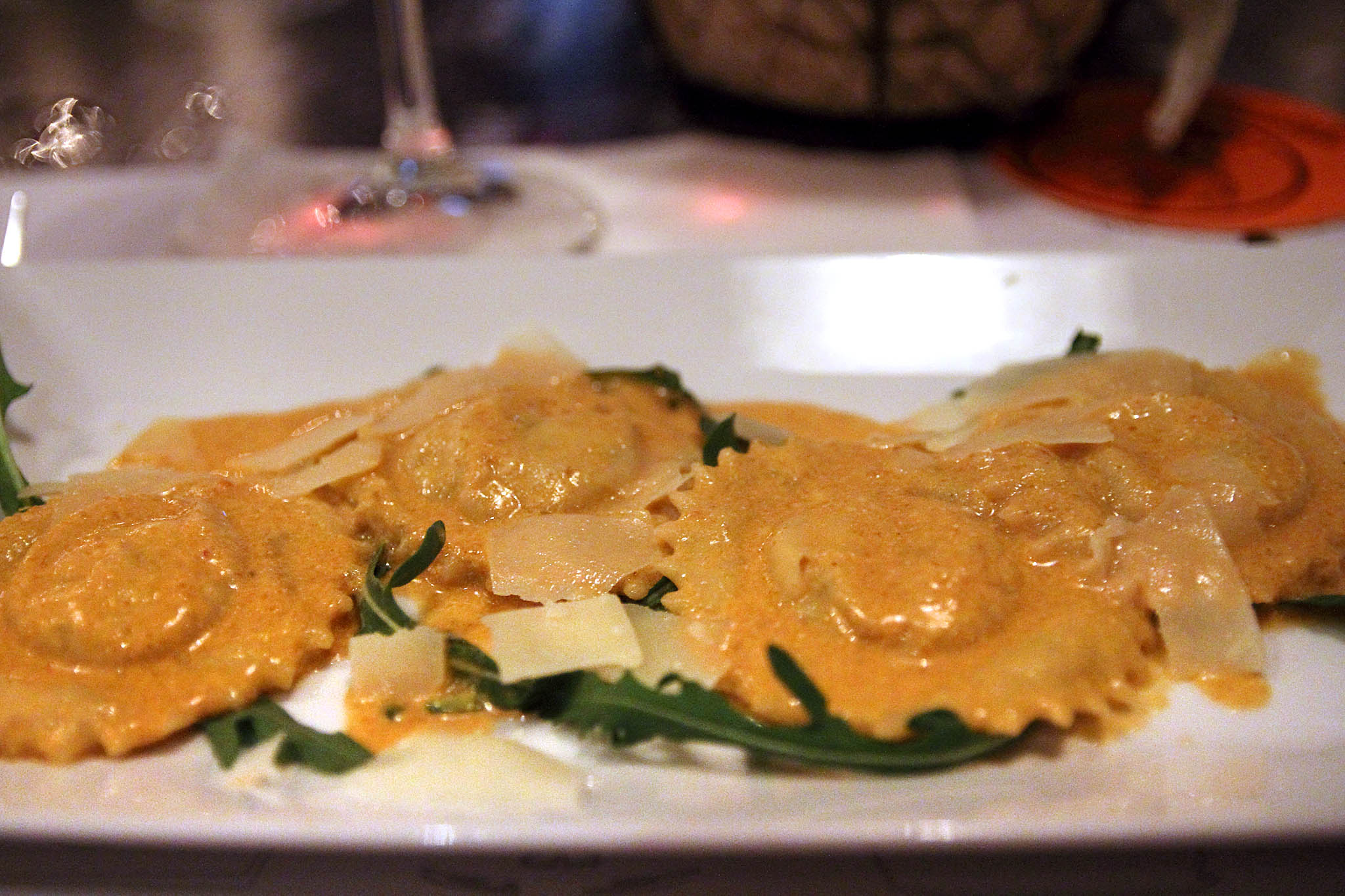 ravioli with lobster in a tomato-cognac sauce